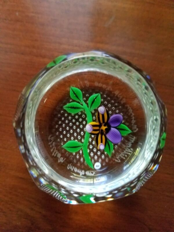 William Manson Faceted Purple Floral Faceted Paperweight 2000
