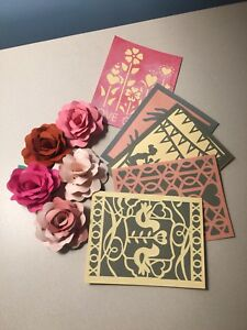 5 cards 5 Paper roses for Valentine's day