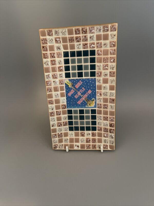 Space Needle Seattle Washington Tile Tray Dish MCM 1962