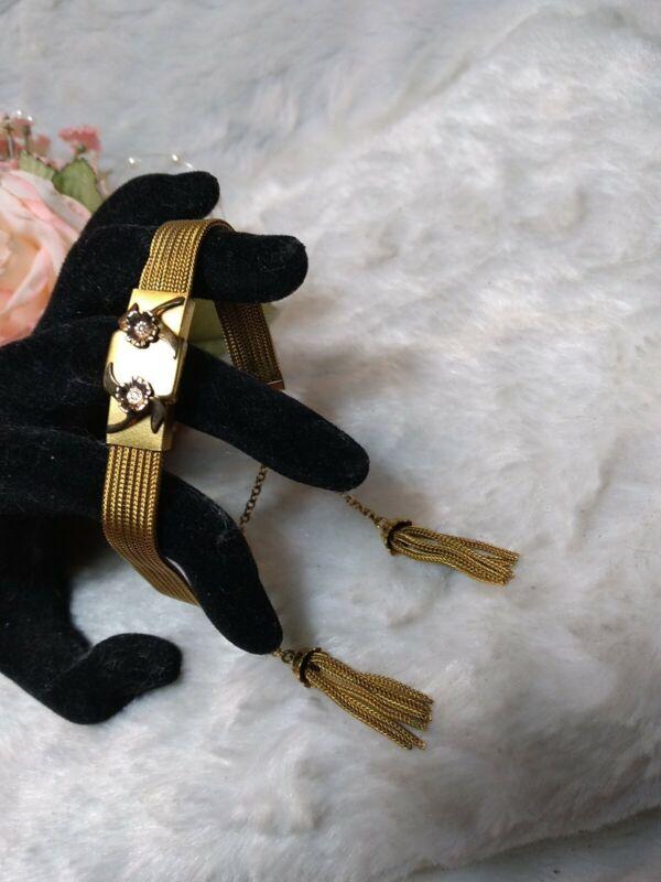 Antique Victorian EDGE 12K Gold Filled Mesh SLIDE Adjustable Tassel Bracelet