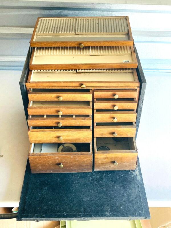 Antique vtg Dental Dentist Traveling box case cabinet Medical w/ Tools
