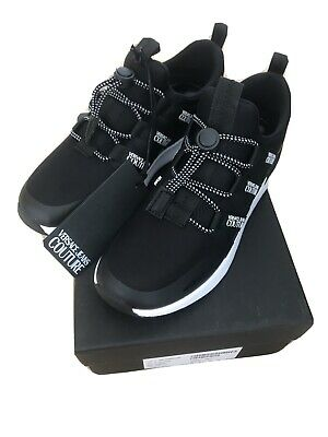 Versace Jeans Couture Black Ladies Teainers Shoes Size 39-40 Uk 6-6.5