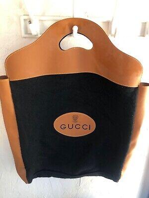 Vintage Gucci Black Wool VIP Rare Travel-Dust Bag Tote W/Tan Flat Handle & Sides