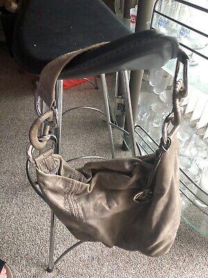Michael Kors Green-Gray Leather Handbag Shoulder Bag EUC