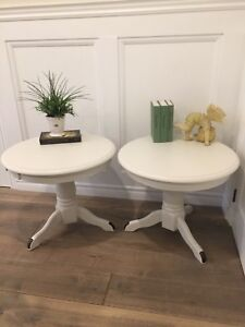 Pair Creamy Antique White Side / End Tables