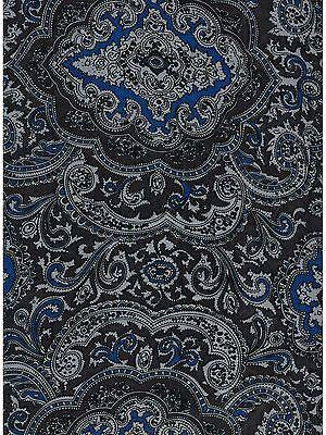 Paisley Blue/Silver Western Cowboy Silk Wild Rag Bandana Buckaroo Scarf