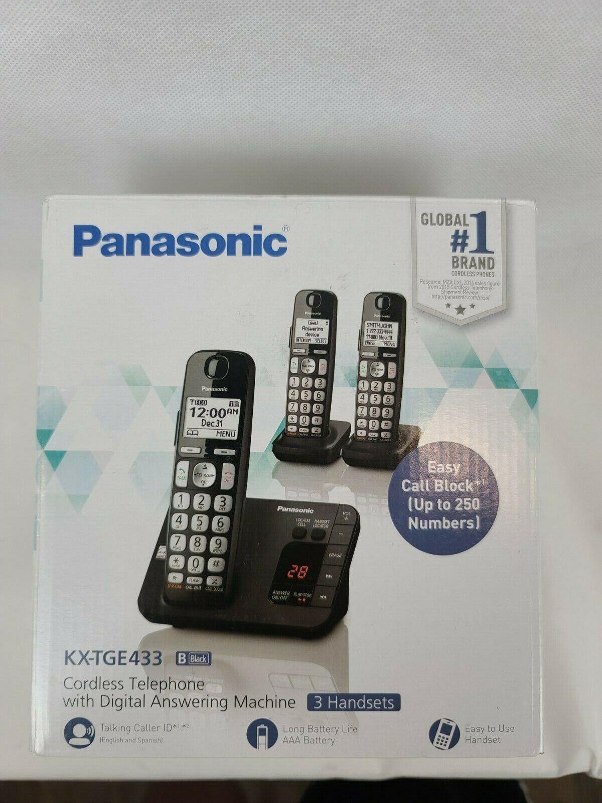 Panasonic Black Expandable Digital Cordless Phone with 3 Han