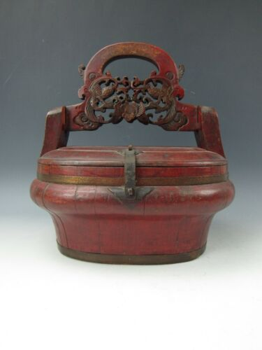 A Chinese Lidded Wooden Basket Red Lacquer Box Carved Phoenix Handle Antique