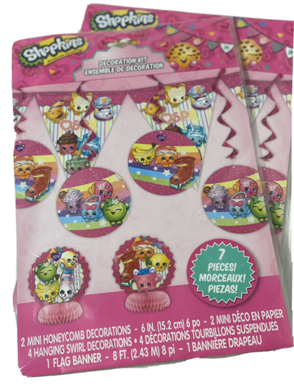 Shopkins Decorating Party Supplies 2 Kits Birthday Includes 8 FT Flag Banner