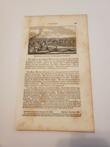 View Of The Borough Of Stamford Connecticut C. 1836 Engraving  - $9.95