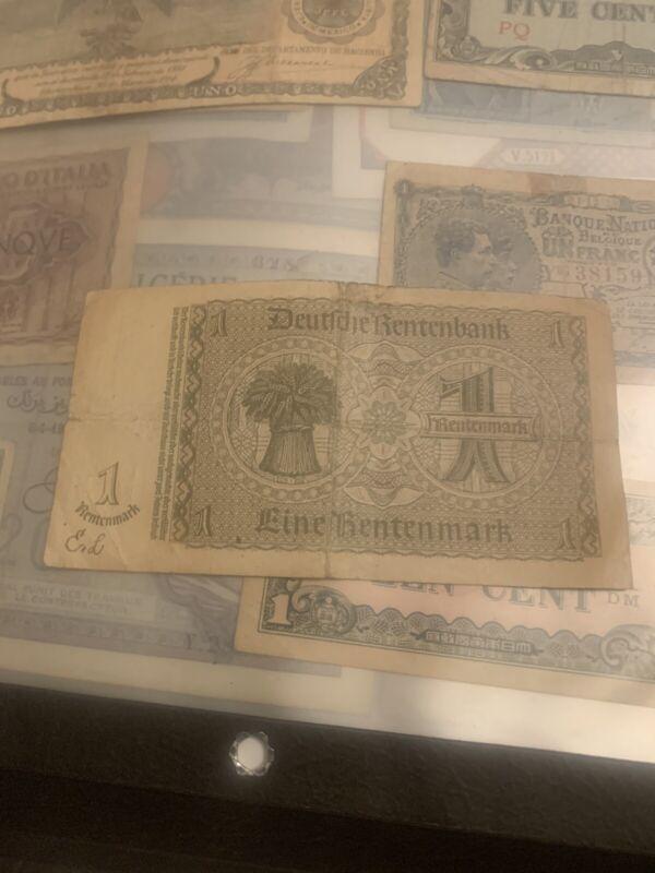 1937german Renten Mark  1mark Bank Note Vintage
