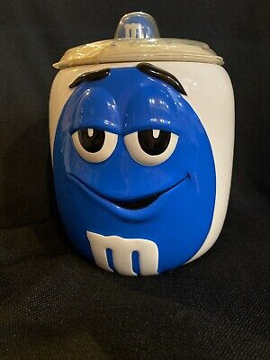 Ceramic BLUE Peanut M&M Candy Cookie Jar Canister with Lid Collectors Series