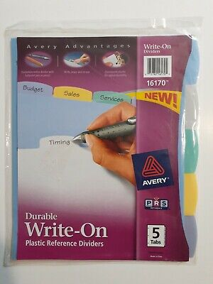 Avery 5-tab Plastic Binder Dividers Write Erase Multicolor Big Tabs 1 Set