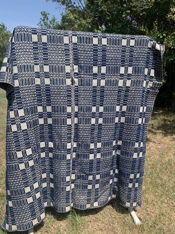 Jacquard Overshot Indigo Coverlet 1800s Wool Cotton Blanket Twin 68x90 Antique