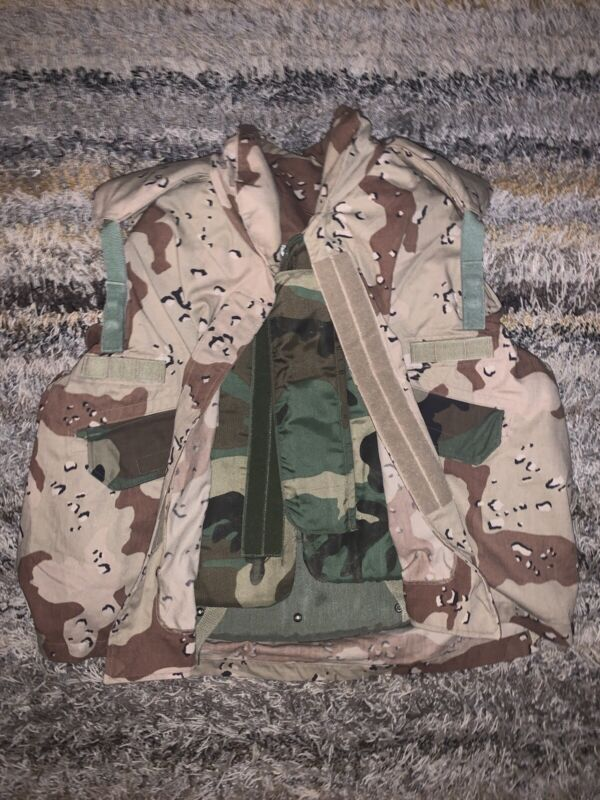LARGE USGI PASGT Vest With Chocolate Chip Camo Cover And Vest Care Guide