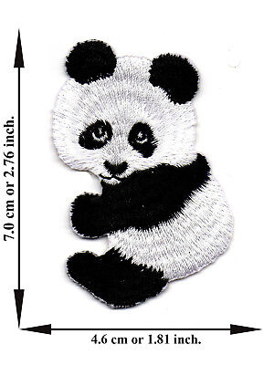 Panda Animal Bear Cute Zoo Iron On Patch Embroidered Applique Crafts Sew DIY - Zoo Animal Crafts