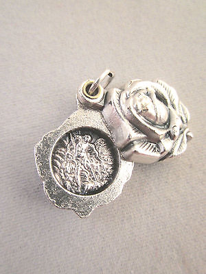- St Michael / Guardian Angel Locket Style Rose Slide Medal Italy
