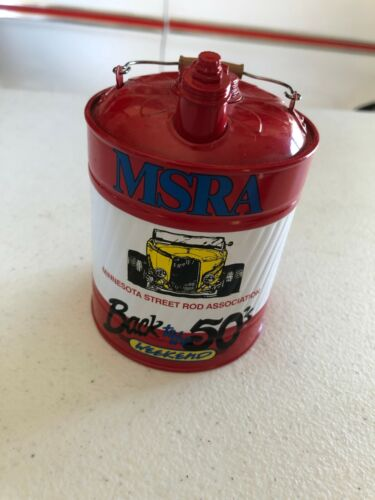 MSRA Back to the 50s gas can bank Minnesota Street Rod Association