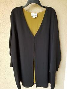 DAVID DART Women's 1X 100% Silk Black/Olive Lined Long Sleeve Tunic Holiday Flaw