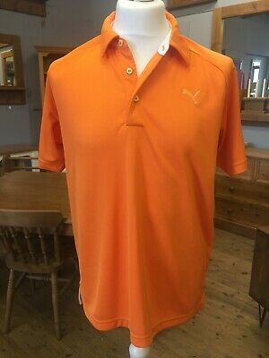 Puma Mens Orange Short Sleeve Polo Shirt Size Uk Medium