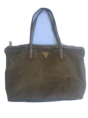 Prada Milano Brown Mustard Nylon Shoulder Bag Poor Conditions