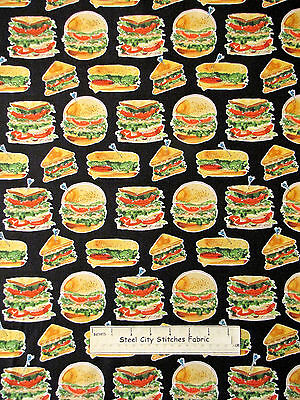 Deli Sandwich Club Food Cotton Fabric Robert Kaufman Lets Do Lunch Black YARD