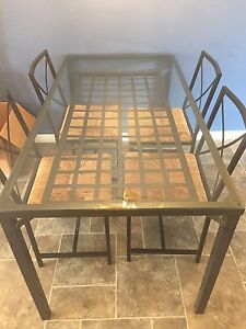 Metal/glass kitchen table & four chairs