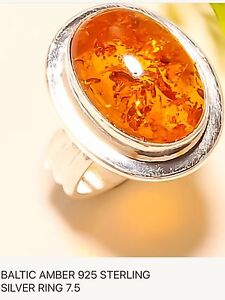 Baltic Amber Sterling Silver ring size 7.5