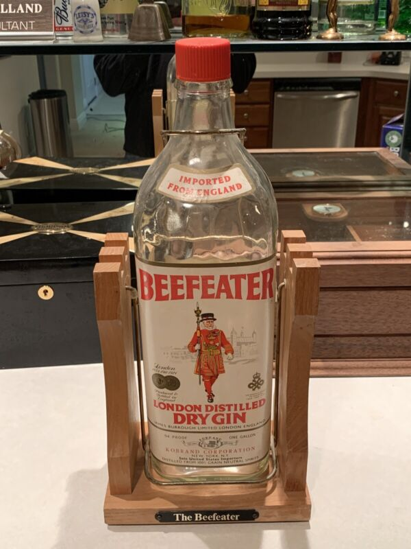 Beefeater Gin 1 Gallon Bottle on Wood Stand Tilt Pour England