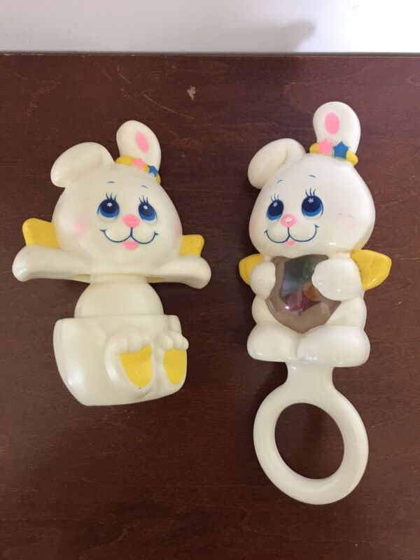 Vintage 1984 Mattel Angel Bunny Rabbit Baby Rattle