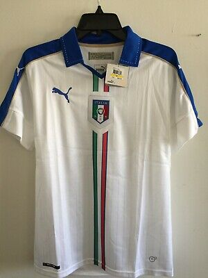 Puma Italy Away White Blue soccer jersey Euro Cup 2016 Size M Men's Only image