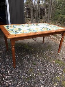 Pine harvest table with hand painted tile top.