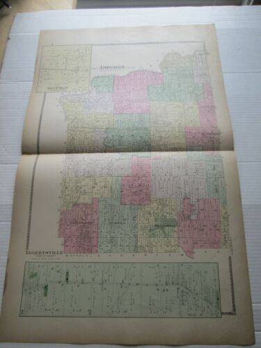 """(1) 1880 ANTIQUE MAP, """"AMHERST, GETZVILLE"""" ++, ERIE COUNTY ATLAS, NY,  F W BEERS"""