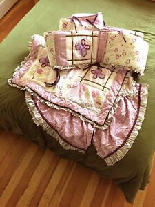 Baby crib bumper, bed skirt and quilt blanket