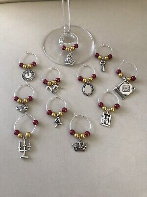 Disney Themed Beauty & The Beast Wine Glass Charm Set Wedding Favour Party