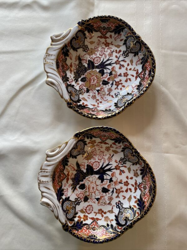 Antique Royal Crown Derby Imari Kings 2 Shell Shaped Dishes. Sold Together