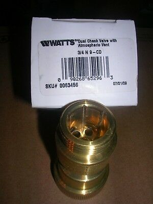 Watts Dual Check Vacuum Breaker Valve W Atmospheric Vent 34 N9-cd Lead Free