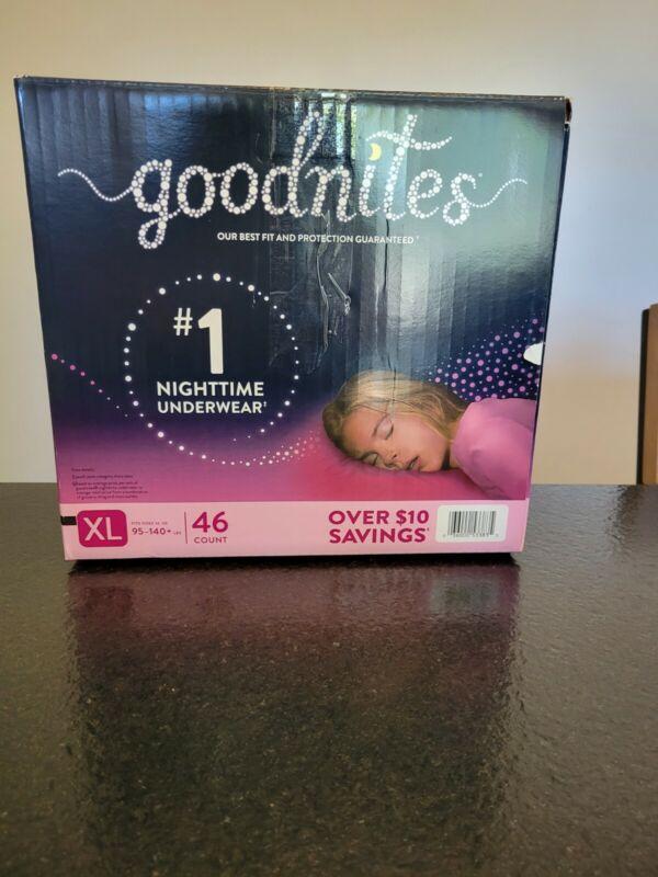 Goodnites Pull Ups XL 95-140 Lb Girl 46 count Purple Nightime underwear FREE SHI