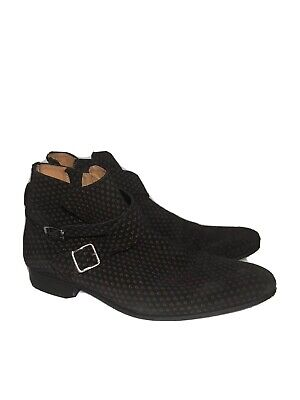 House Of Hounds Mens Ankle Boots Printed Strap Size 42 / 9 Black