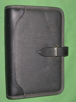 Compact 0.75 Black Faux Leather Day Runner Planner Binder Franklin Covey 7074