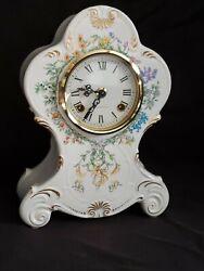 Vintage Franz Hermle  European Porcelain Mantle Clock Floral Horticulture  Works