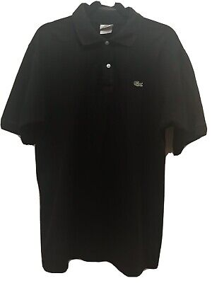 Lacoste Mens Polo Shirt Size 8 Black Classic Short Sleeve Mesh