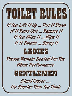 Vintage retro style Toilet Rules funny bathroom metal sign Metal wall door Sign