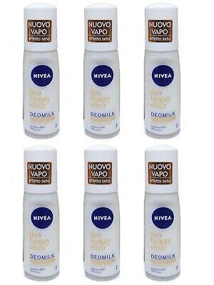 6 pezzi NIVEA Deodorante VAPO DEOMILK EFFETTO SETA Deo Beauty Elixir 75...