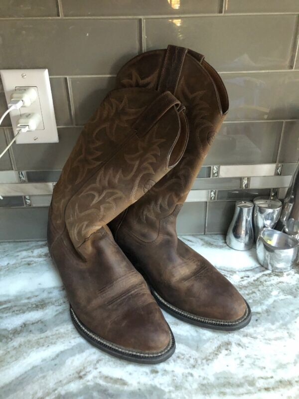 Ariat, , Mens, Heritage, 8.5, D, 39, M, Distressed, Leather, Cowboy, Boots, Tan, EUC