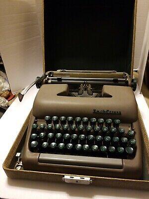 Vintage Smith Corona Sterling Typewriter 1950's Portable Tweed Case