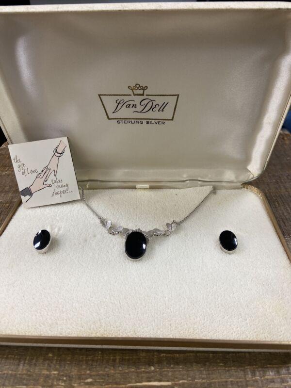 Vintage Van Dell Sterling Silver Necklace & Earring Onyx Set screwback earrings