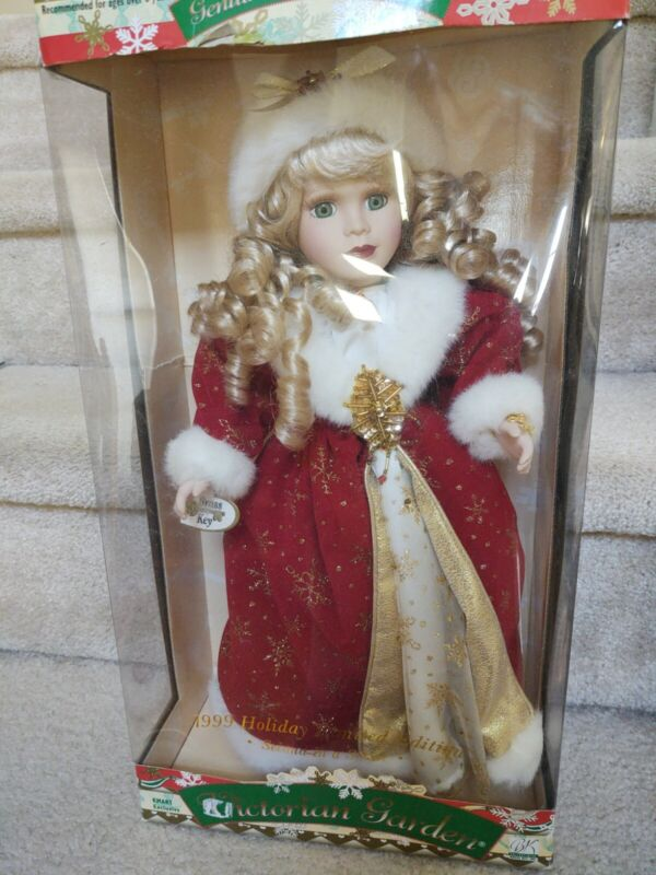 Holiday Porcelain Doll 1999 Victorian Garden Second in Series Brass Key