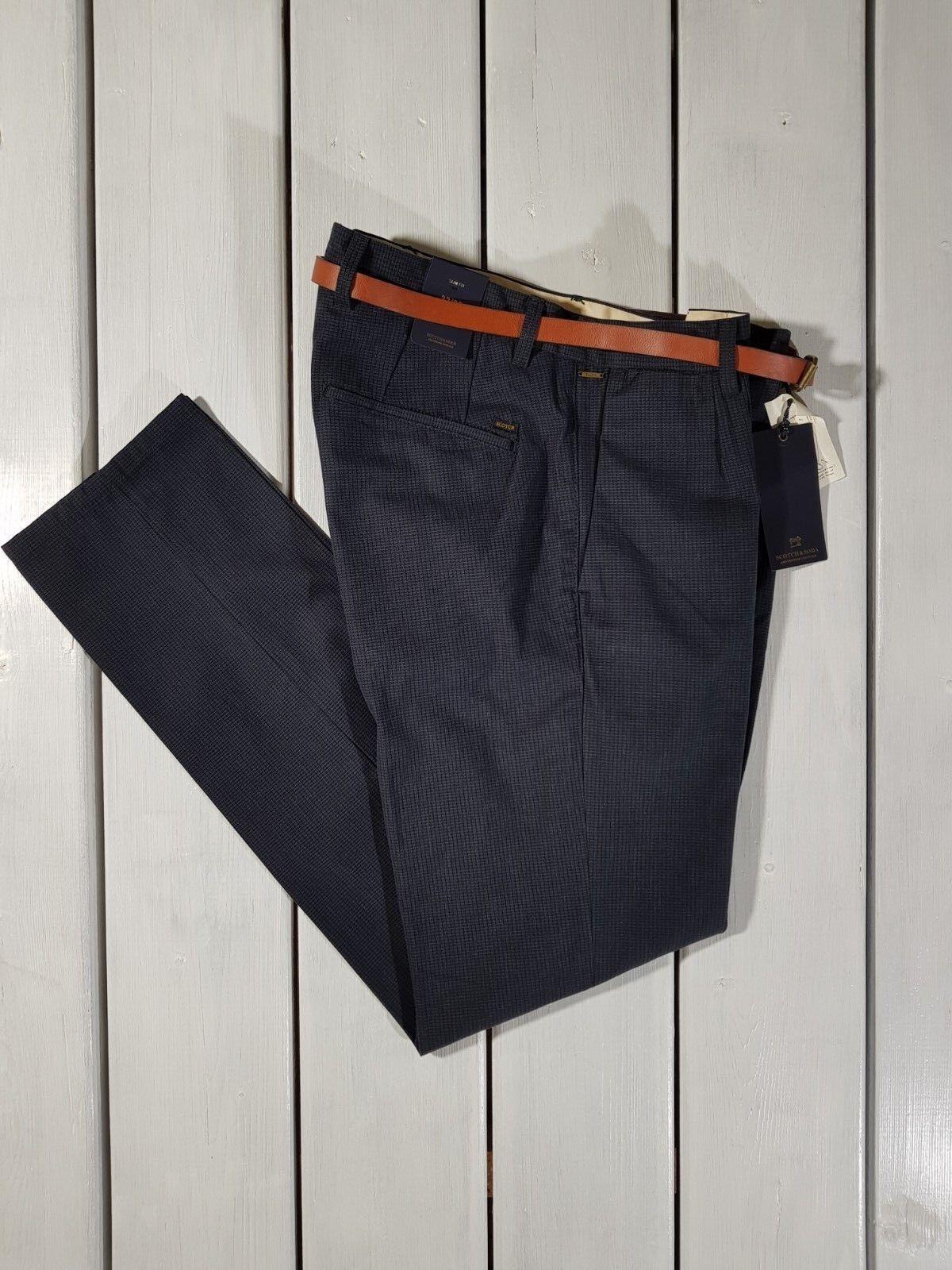 NEW SCOTCH /& SODA MEN/'S TROUSERS STUART SLIM FIT NAVY BLUE PANTS WITH BELT