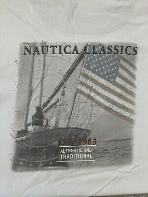 Nautica Classics White Men's T-Shirt with Front Pocket and Back Graphic Sz. L